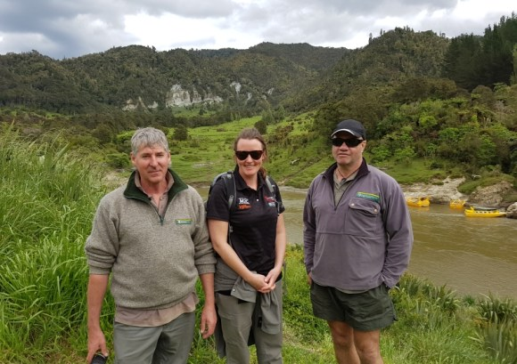Jim Campbell, Jas Hesseel and Shane Woolley at Tieke on the Whanganui River.