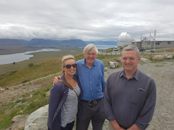 Sally Jones Twizel District Operations Manager & rep on the AMIDSR board, Graeme Murray, ESI Director and Andy Roberts at Mt John Observatory Tekapo.