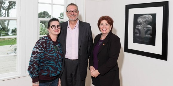 Artist Fiona Pardington, Arts Council of NZ Chair Michael Moynahan and Minister Maggie Barry at the Wild Creations launch. hoto: Copyright Topic Images Ltd. 2017.