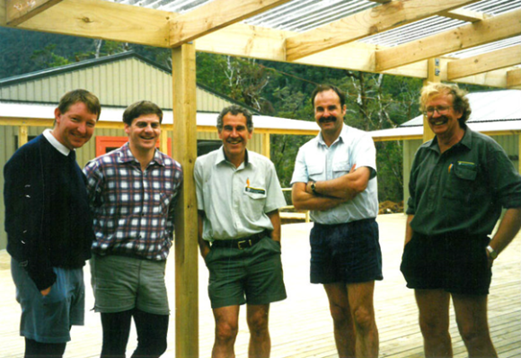 Milford Track 1996. From left: Nick Smith, Bill English, Dave Wilson, Lou Sanson and Ken Bradley.