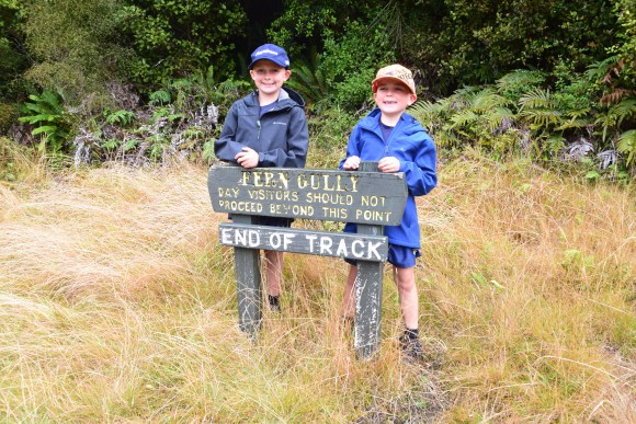Oscar and Stanley at the end of the Fern Gully Track. Photo: Jennifer Ross (DOC)