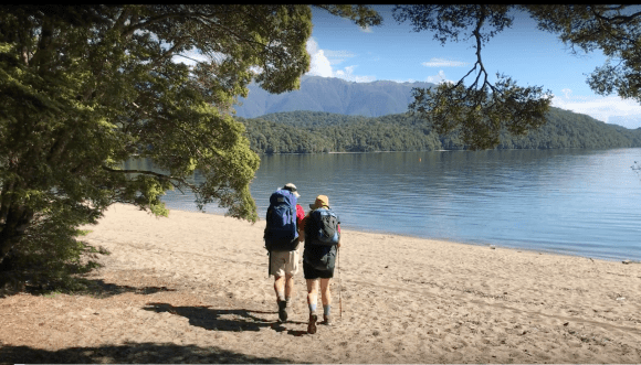 Walking down to the shore of Lake Te Anau being guded by Mark.