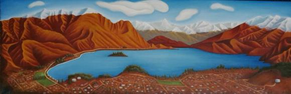 Chrissy Wickes, 'Mt Iron', oil on canvas, 920 x 300 mm