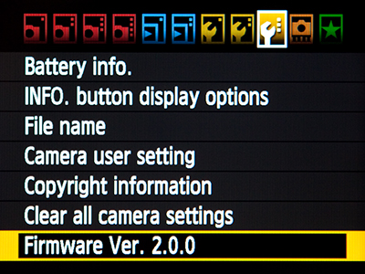 Canon 7D Firmware 2 2.0 EOS upgrade update