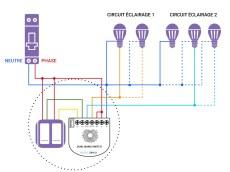 Schéma de câblage du Dual Nano Switch d'Aeotec dans une installation avec neutre