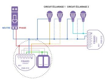 Schéma de câblage du FGD-212 de Fibaro dans une installation avec neutre