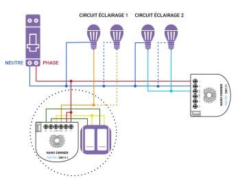 Schéma de câblage du Nano Dimmer d'Aeotec dans une installation sans neutre