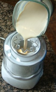 Photo of Nilgiri flavored ice cream being poured into churn.