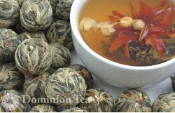 Flowering Burst tea balls and open in liquor.
