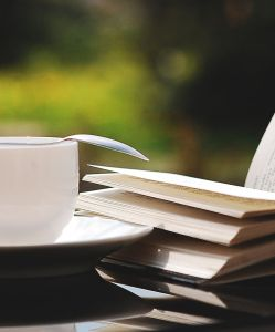tea cup and books