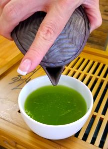 Bright green infused liquor from shincha.