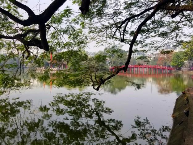 Lake of the Returned Sword in downtown Hanoi, Vietnam facing Ngoc Son Temple.