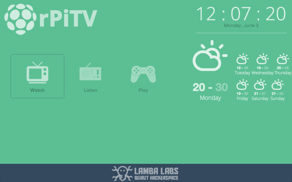 Raspberry Pi TV Screen Front-end