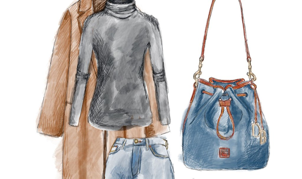 A sketch of our Pebble Grain drawstring bag, a black turtleneck, and a brown trench coat.