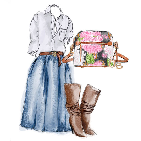 A sketch of a blue skirt, white button down blouse, brown heeled boots, and a Hydrangrea Monogram bag.