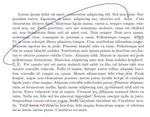Exemple de flèches par dessus un paragraphe