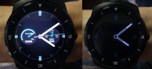 A gauche le cadran quand la montre est attente d'une commande, à droit en veille