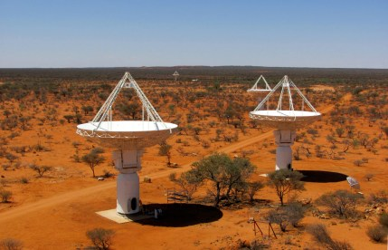 3 radio telescope dishes.