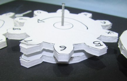 Foam gears with numbers written on them