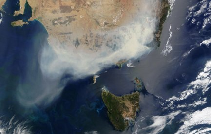 Satellite image showing smoke from bushfires over south-eastern Australia.