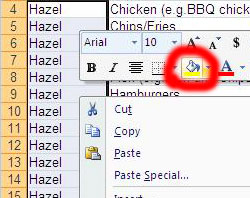 A spreadsheet. a lot of cells are highlighted - they all say 'hazel'. a menu has popped up and the 'fill' command is highlighted.