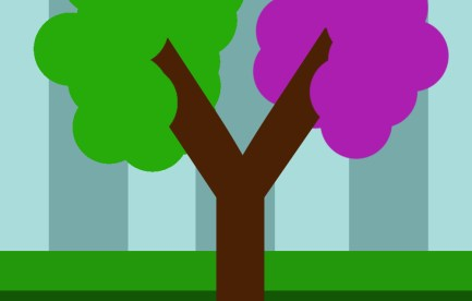 Stylised picture of a half green and half purple tree