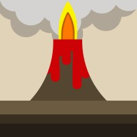 Stylised image of an erupting volcano