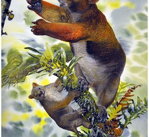Artist's impression of a mother and juvenile Nimbadon in a tree.