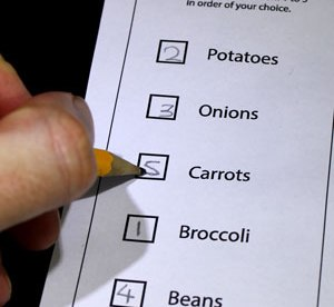 A ballot paper. Someone has numbered each box: Potatoes 2 Onions 3 Carrots 5 Broccoli 1 Beans 4