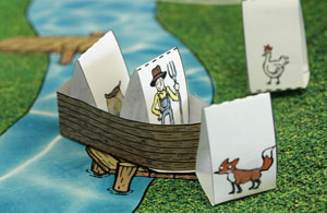 The farmer and corn are in the boat, the fox and chicken are on the bank.