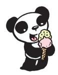 Panda eating ice cream.