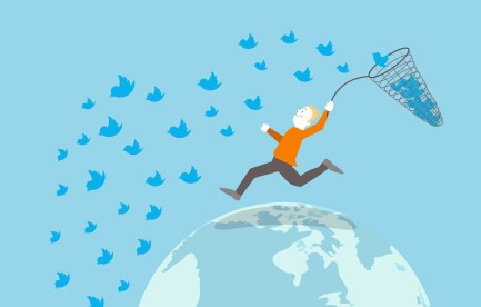 Illustrated man catching Twitter birds with a net.