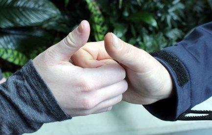 two interlocking fists