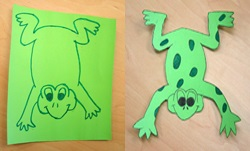 A drawing of a frog, and a cut out drawing that has been coloured in.