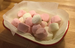 The dish is filled with marshmallows.