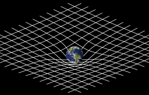 The Earth, siting on a distorted grid.