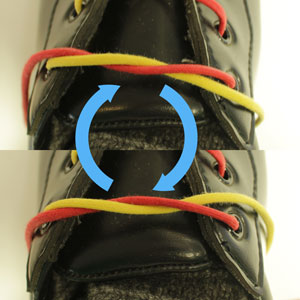A half tied knot, and the mirror of that knot, and arrows pointing between the two.