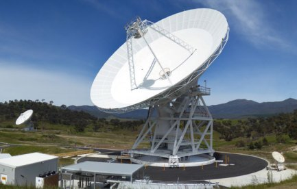 A large radio telescope dish.