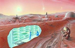An illustration of an underground Mars base.