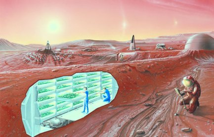 An illustration of an underground Mars base.