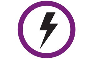 Black lightning bolt in purple circle