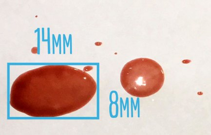 a blood spot withmeasurements for width and length