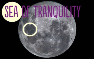 Photo of the face of the Moon, highlighting the Sea of Tranquility