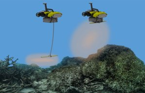 Image of two small robots releasing a cloud of coral polyps over a dead area of reef.