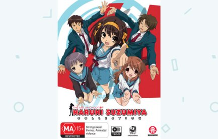 DVD cover image animated picture of 5 children, 2 girls and 3 boys with the title, The melancholy of Haruhu Suzumiya Collection.