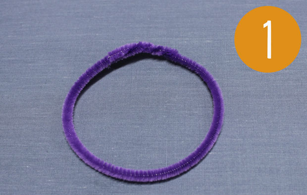 Purple pipe cleaner circle.