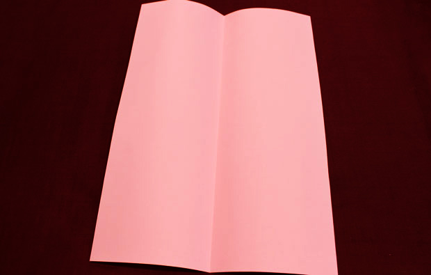 A pink piece of paper with a fold down the middle.