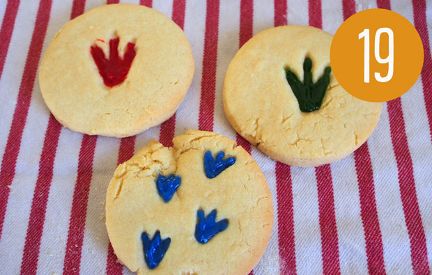 Coloured fossil prints in biscuits.