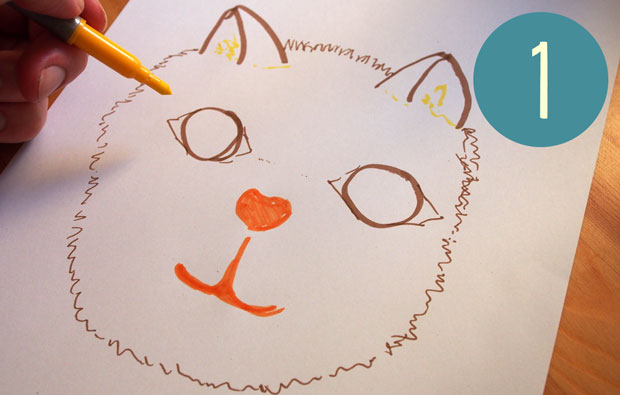 Drawing of a cat's face.