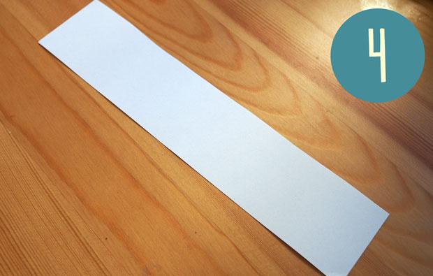 Narrow white strip of paper.